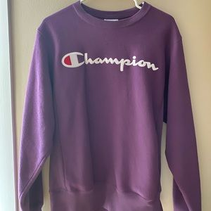 purple champion crew neck, thick and oversized!